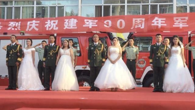 4对新人警营办婚礼,新娘个个美如花