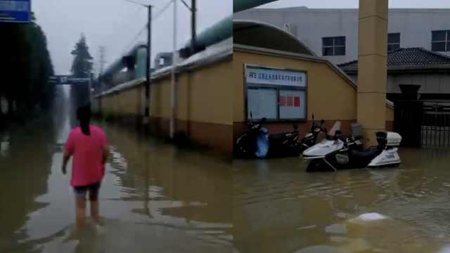江苏常州暴雨:河道漫堤,村民撤离