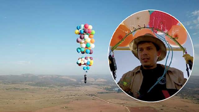 他靠100只气球升空2400米,飞25公里