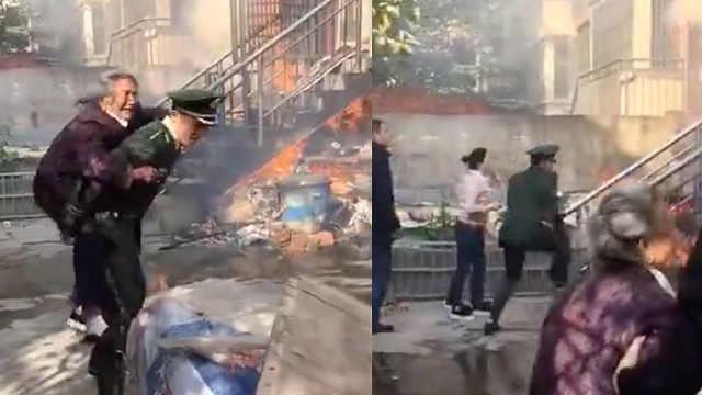 消防宣传遇火灾,他没换护具闯火场