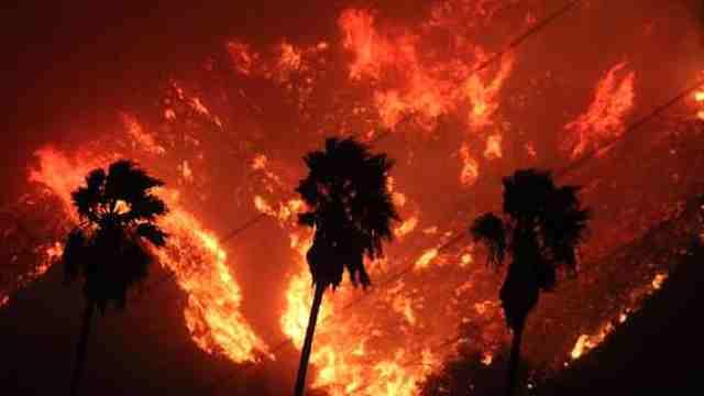 加州南部发生大火数万居民被迫撤离
