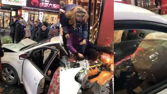 女司机冲进饭店撞伤1人,当场吓懵