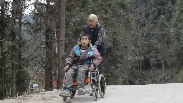 老太推脑瘫孙上学,每天8趟走48里路