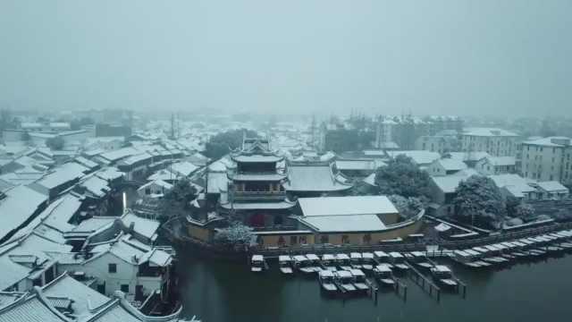 航拍魔都初雪:最美的雪景在这里