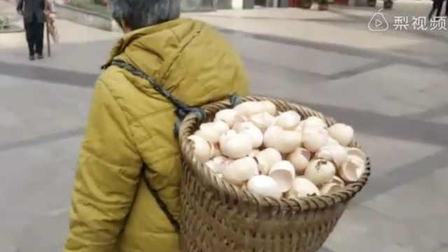 婆婆每日走街收集鸡蛋壳,用处神奇