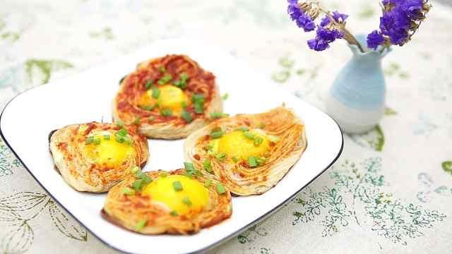 创意鸟巢鸡蛋饼,美味不容错过