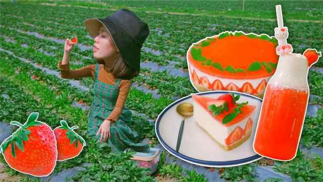 草莓芝士蛋糕和草莓饮料,谁能拒绝