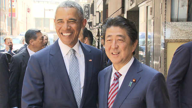 奥巴马安倍寿司店叙旧:聊开了花
