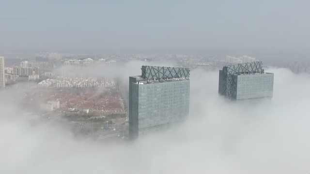 青岛现平流雾奇观,景色美翻似仙境