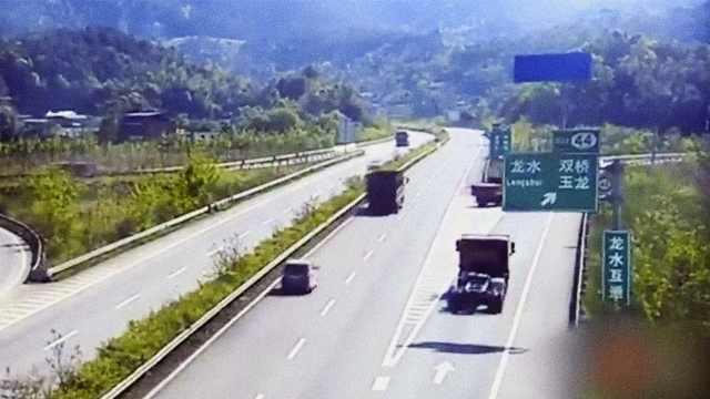 不要命!货车高速路倒车500米