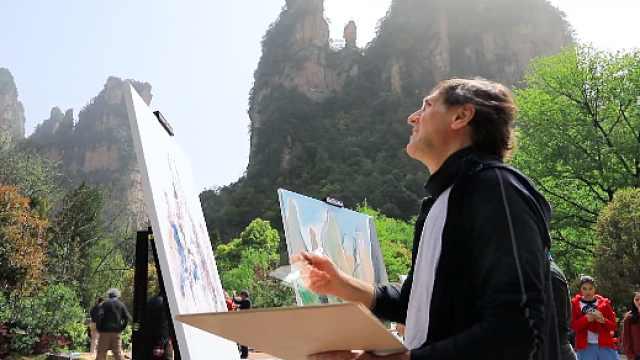 油画艺术家聚集,绘制五彩张家界