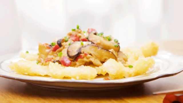 焦焦脆脆的锅巴香菇炒肉