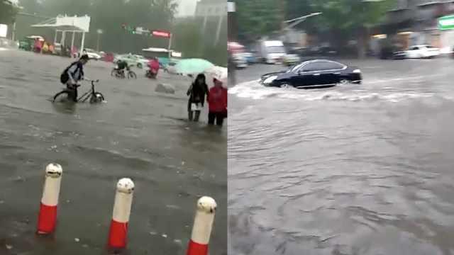 河北暴雨倾城淹多车,街道秒变河道