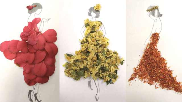 玩出花!90后美女中药师用药材作画