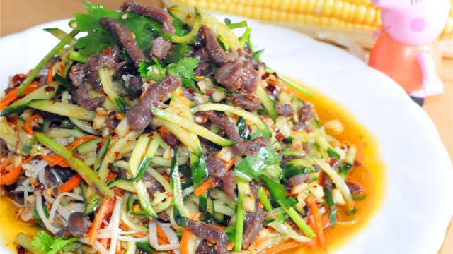 开胃菜,凉拌黄瓜金针菇肉丝