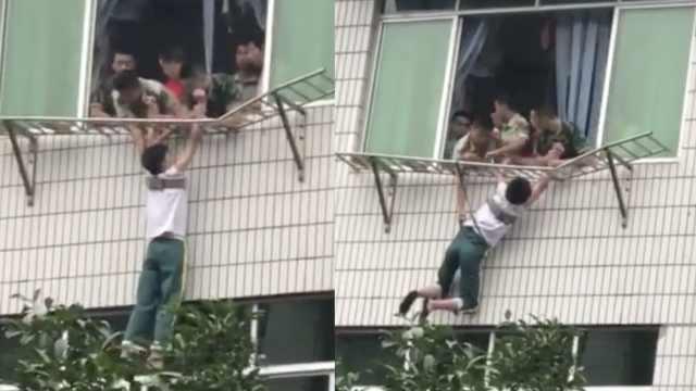 惊险!男孩悬空6楼外,消防紧急拽回