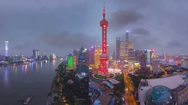 上海全景航拍,黄浦江两岸美如画