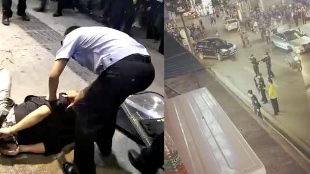 男子持刀劫持出租车,警方开枪制服