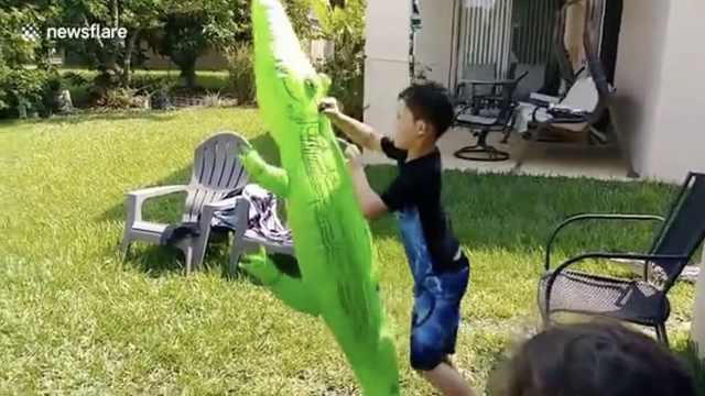 男孩在后院玩假鳄鱼,竟引来真鳄鱼