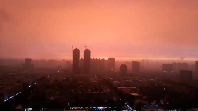 夕阳醉!哈尔滨雨后现红霞,笼罩全城