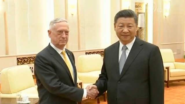 习近平会见美国国防部长马蒂斯