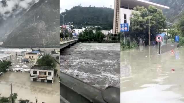 汶川暴雨民房泡水里,市民:被淹完了