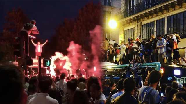 爬红绿灯!叠罗汉!法国球迷疯狂了