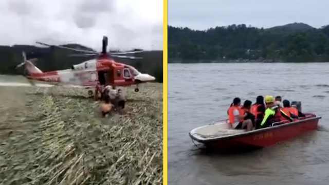 500人困孤岛40小时,直升机救出村民