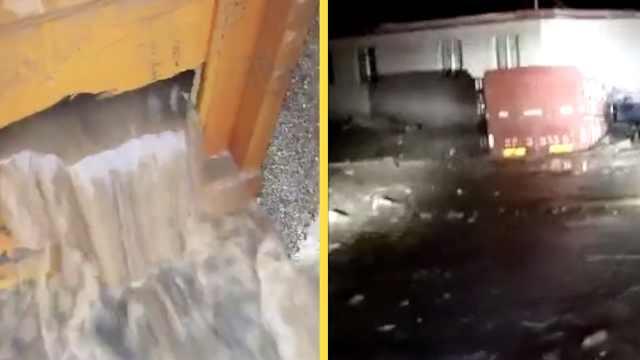 暴雨袭兰州货车被冲走,数村变孤岛