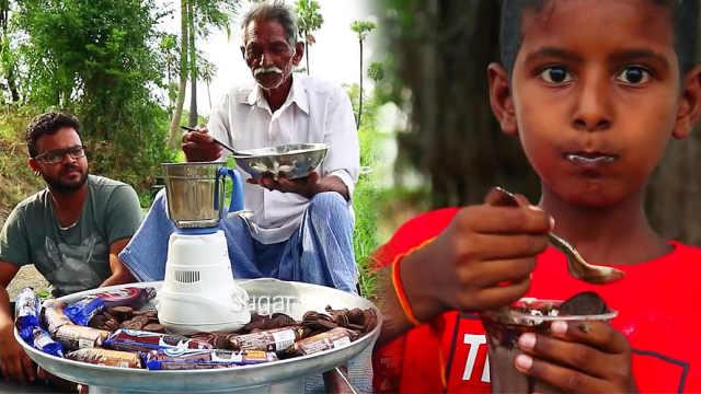 甜!印度爷爷为孤儿们做奥利奥奶昔