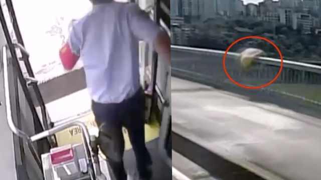 女子跳桥轻生,公交司机急停车救人