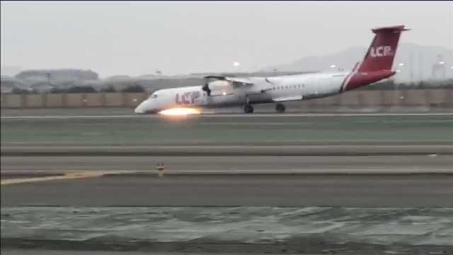 秘鲁客机紧急迫降,起落架轮胎起火