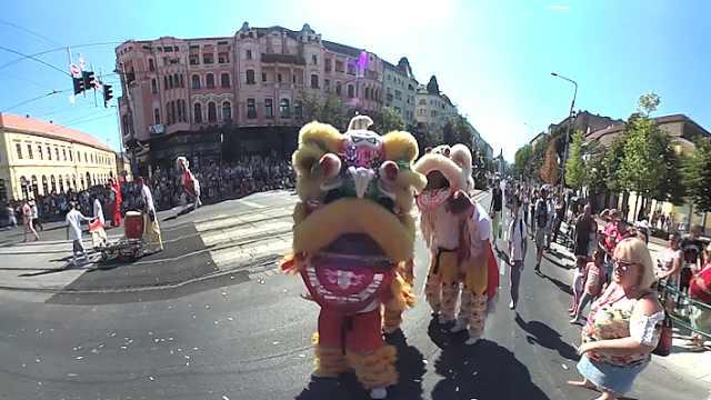 热闹!匈牙利花卉节,现场玩起舞狮