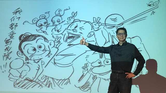 《乌龙院》作者敖幼祥,现场教漫画
