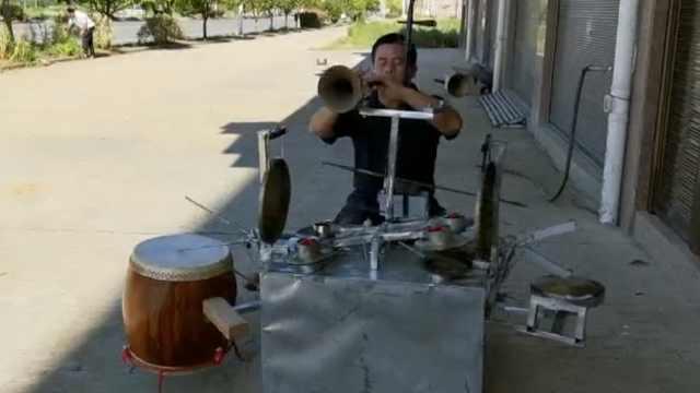 1个人的乐队!农民同时演奏14种乐器