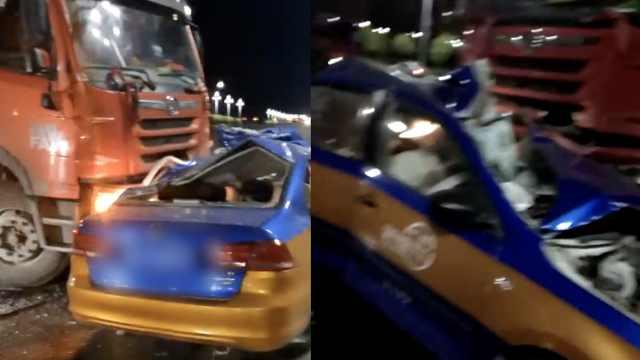 出租车与大货车相撞,驾乘6人身亡
