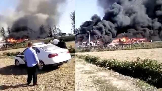 山东菏泽3车追尾燃大火,一司机身亡