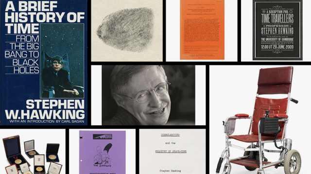 霍金22件遗物将拍卖:论文轮椅夹克
