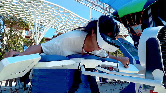 海边体验智能VR飞行器,浪漫热气球