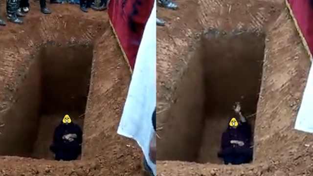 出殡引纠纷,老人竟躺进死者墓穴