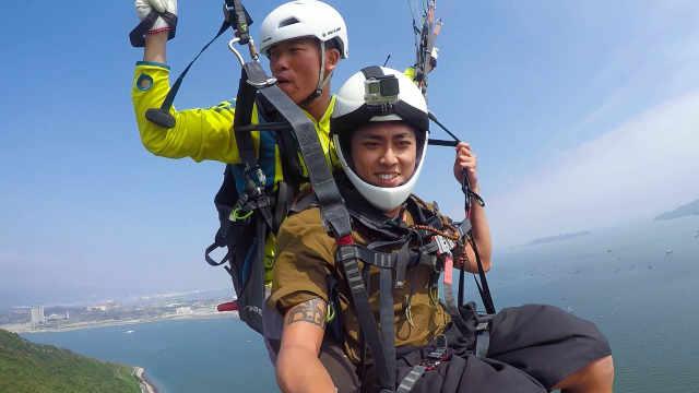 在广东惠州体验滑翔伞,一飞冲天