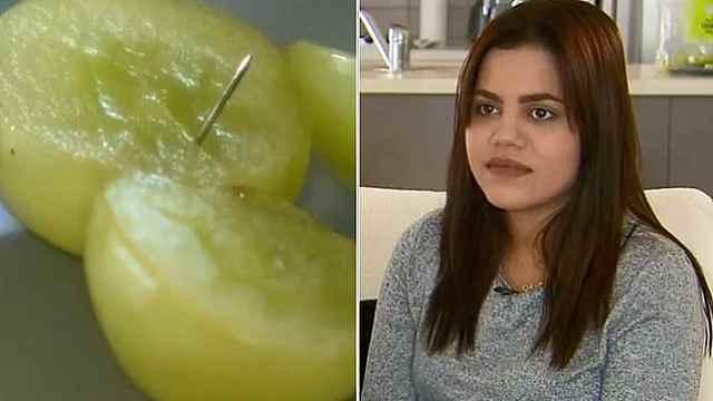 澳洲葡萄又被藏针,孕妇差点吃下!
