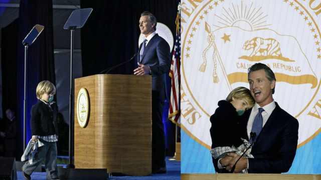 作秀?州长就职发言儿子上台要抱抱