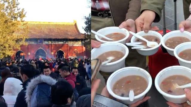 雍和宫腊八节施粥,数万人排队祈福