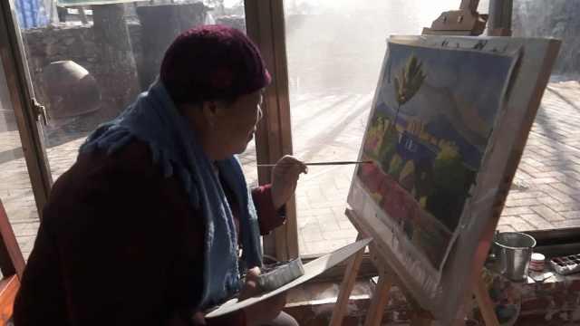 留守村妇学画3个月办画展,作品惊艳