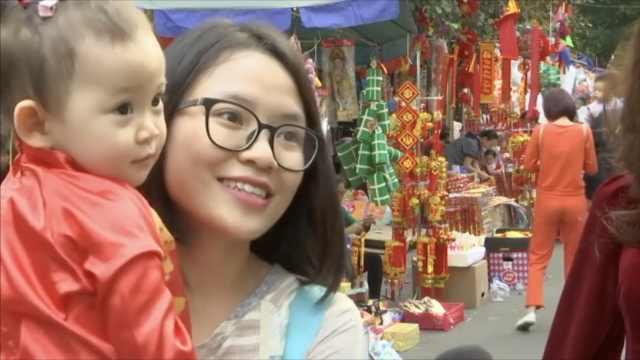 越南人民迎猪年:买鞭炮灯笼和桃花