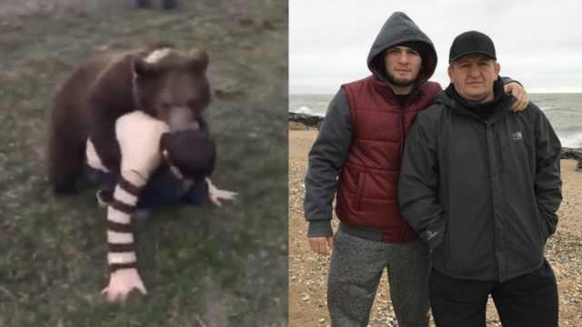 硬核戰斗民族!小孩與熊搏斗練搏擊