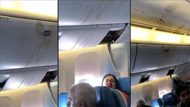 飞机遇气流,女子砸向天花板满脸血