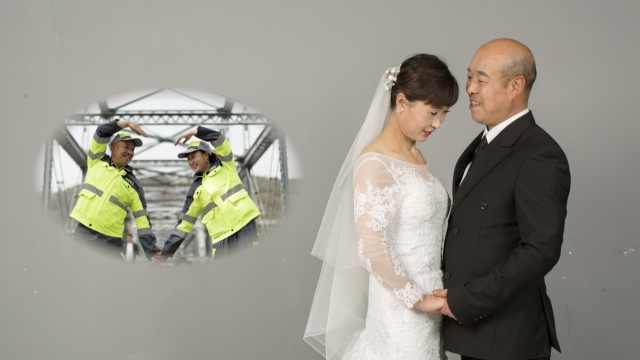 环卫夫妻拍婚纱照泪奔:之前不敢想