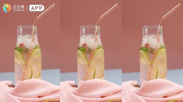 快来试试仙气十足的樱花荔枝气泡水